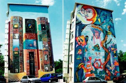 Рисунки на зданиях
