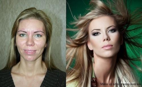 Макияжа с помощью макияжа девушки и